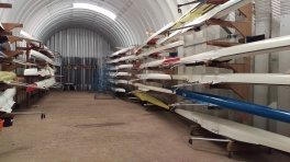 Kayak in rowing boat shed