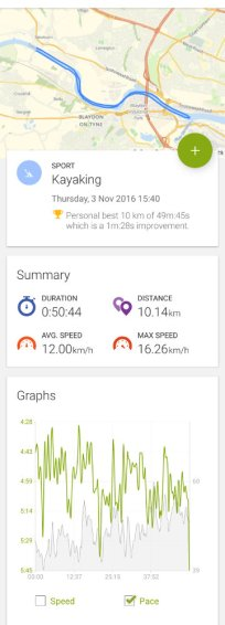 Endomondo screenshot showing route and pace or timetrial